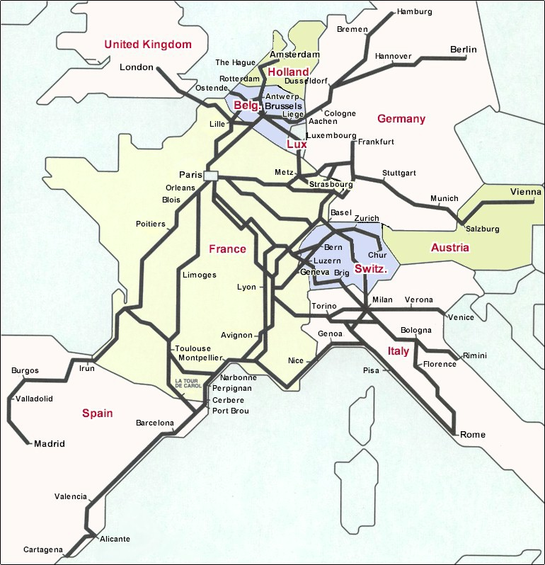 France rail hub of Europe. Train map with lines for Eurostar, Thalys, ICE Germany, Lyria Switzerland, TGV Italia Italy and TGV Spain for Spain