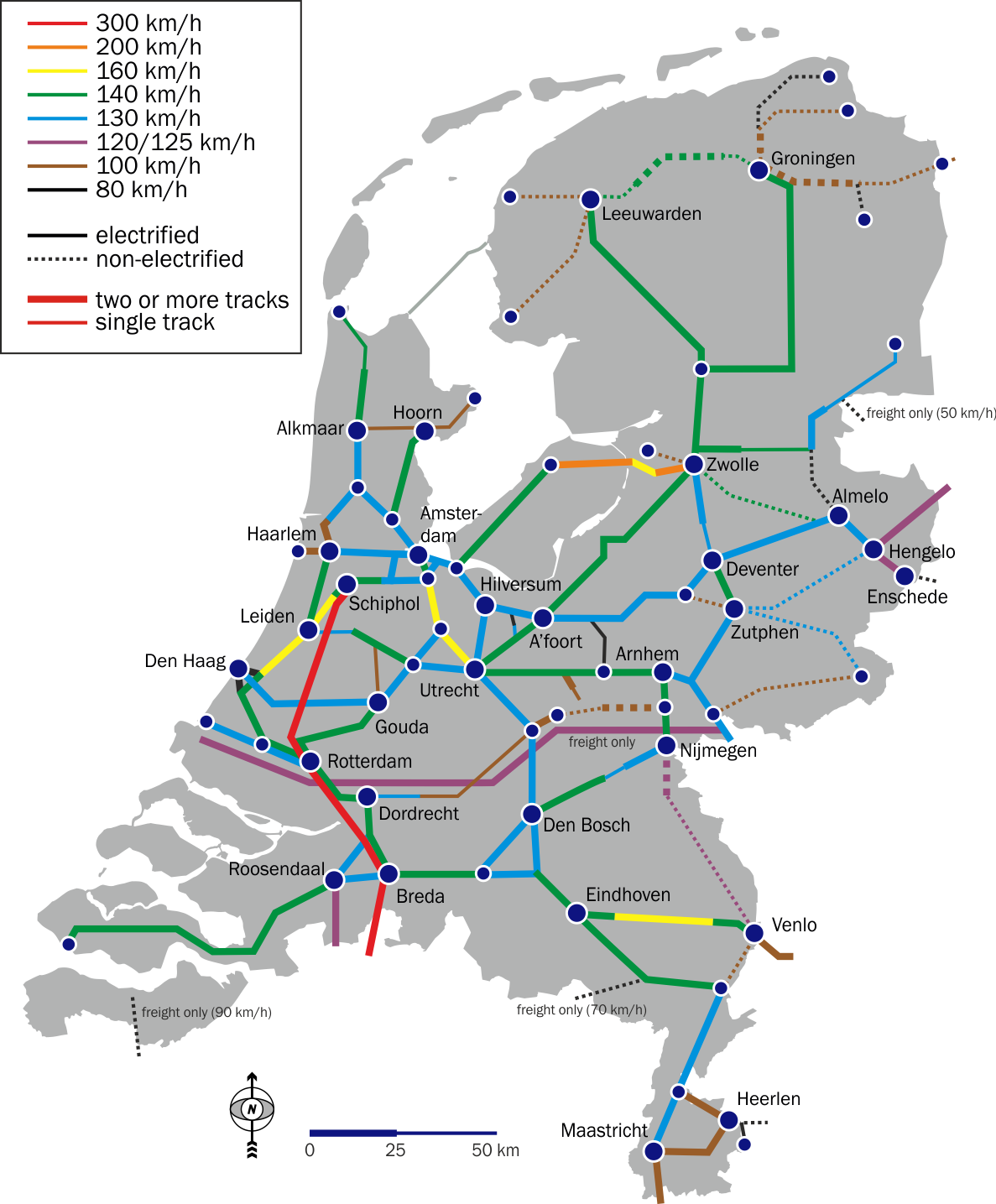 Holland-Intercity-train-network