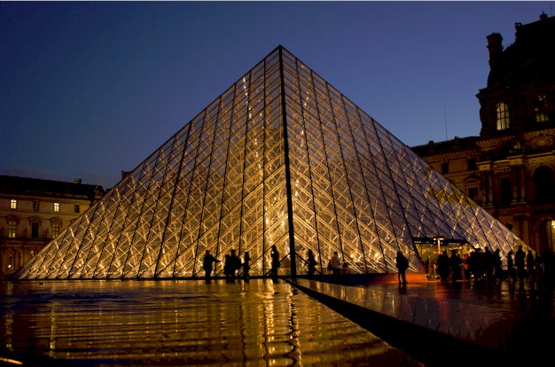 The Pyramid which adorns the central courtyard of the Louvre museum in Paris, France