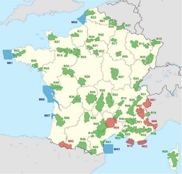 France National Reserve Parks, Marine Parks and Regional Parks