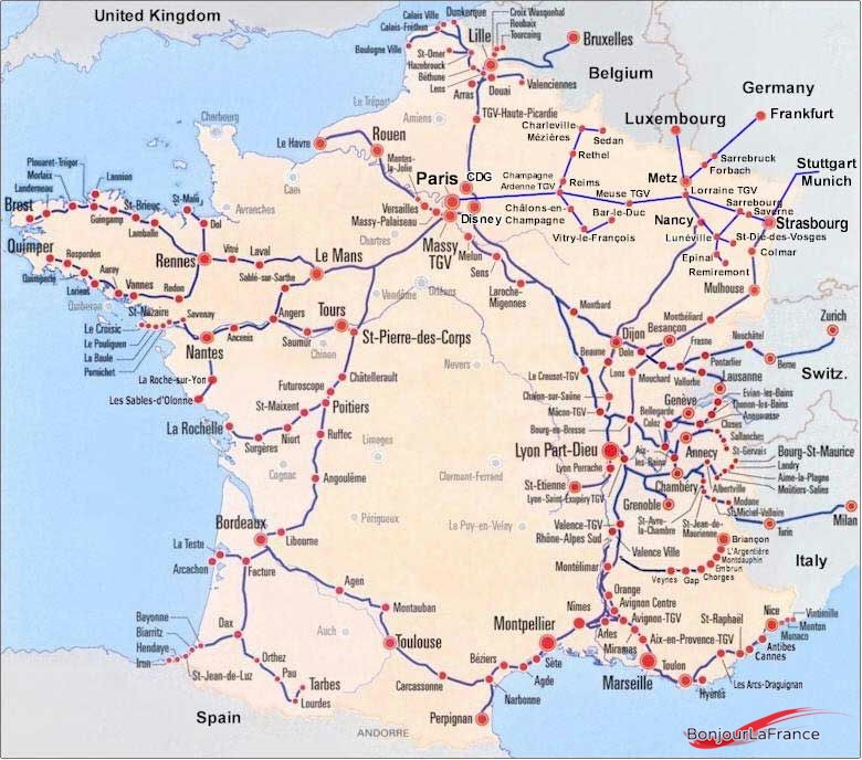 Map Of France Showing Lille.Gare De Lyon Part Dieu Train Station Bonjourlafrance Helpful