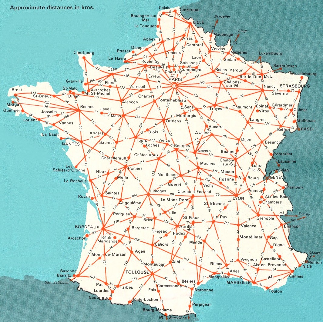 France Map Driving Distances