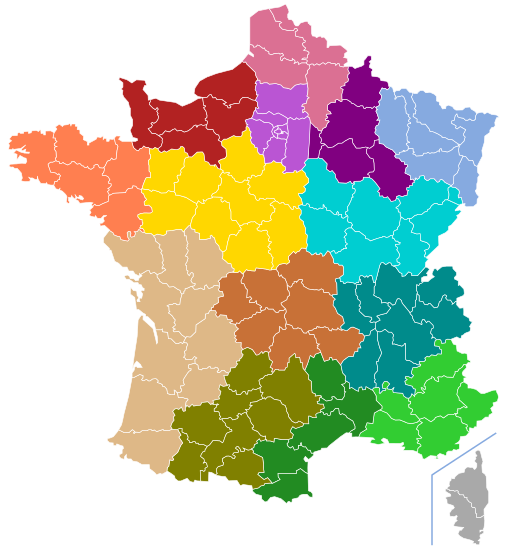 France Regions and Departments Blank Map